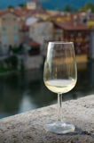 Romantic glass. Of white wine royalty free stock images