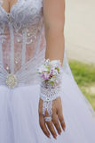 Romantic glove of the bride. With a flower and jewels Royalty Free Stock Photography