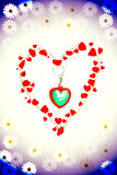 Romantic gold chain heart with red flower pentals Stock Image
