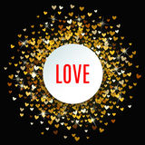 Romantic golden heart background. Vector illustration Royalty Free Stock Photo