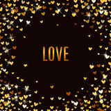 Romantic golden heart background. Vector illustration Stock Images