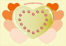 Romantic golden heart which symbolizes the love Royalty Free Stock Images