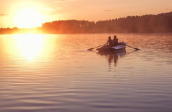 Free Romantic Golden Sunset River Lake Fog Loving Couple Small Rowing Boat Date Beautiful Lovers Ride During Happy Woman Man Together R Royalty Free Stock Photo - 89377295