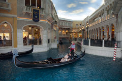 A romantic gondola ride indoors Stock Photo