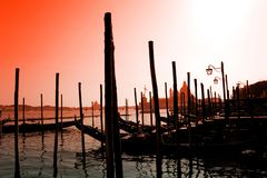 Romantic gondolas in the lagoon of venice Stock Images