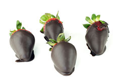 Romantic Goodies. Four chocolate candy dipped Valentine's Day strawberries on white Stock Images