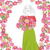 Romantic graceful cute girl with flowers in pink green  dress. Flower frame. Mother`s Day. White background. Vector illustration of woman on White background Stock Photos