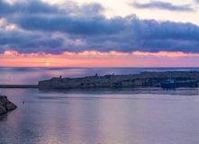 Romantic Grand Harbour in colorful sunrise, Valletta, Malta. EU Royalty Free Stock Images