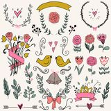 Romantic graphic set, arrows, hearts, birds, bells, rings, laurel, wreaths, ribbons and bows. Stock Photography
