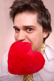 Romantic graw boy with heart. Stock Photo