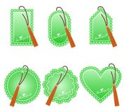 Romantic green  tags for Valentine`s Day Stock Photo