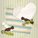 Romantic green vintage illustration with candies Stock Photo