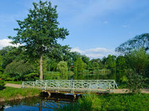 Romantic green wooden footbridge Royalty Free Stock Photo