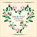 Romantic greeting card with cherry blossoms and butterflies. Royalty Free Stock Images