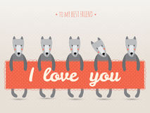 Romantic greeting card with cute dogs and hearts. Vector. easy to scale and modify Stock Images