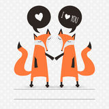 Romantic greeting card with foxes. Stock Photos