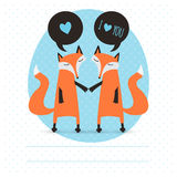 Romantic greeting card with foxes. Royalty Free Stock Images