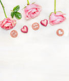 Romantic greeting card with message for you and with love and sweet heart chocolates on light background, top view, border. stock image