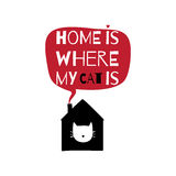 Romantic greeting card with quote about home. Home is where my c Royalty Free Stock Image