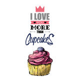 Romantic greeting card with text and cupcake. Stock Image