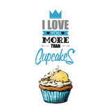 Romantic greeting card with text and cupcake. Stock Images