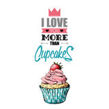 Romantic greeting card with text and cupcake. Royalty Free Stock Photo