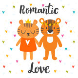 Romantic greeting card with two cute tigers. Hand drawn letterin Royalty Free Stock Images
