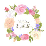 Romantic greeting card. Romantic vintage greeting card holiday invitation to wedding, birthday, Valentines day, vector illustration, delicate flower wreath of Royalty Free Stock Photo