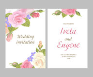 Romantic greeting cards. Romantic vintage greeting card holiday invitation to wedding, birthday, valentines day, set vector illustration, delicate flower wreath Royalty Free Stock Photos