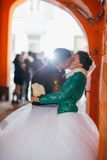 Romantic groom and bride  in their wedding day. Romantic groom and bride in their wedding day Royalty Free Stock Images
