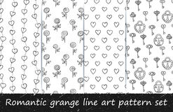 Romantic grunge line art pattern set. Vector hand drawn seamless patterns. Black and white backgrounds with lines, hearts, keys, locks and roses. Series of stock illustration