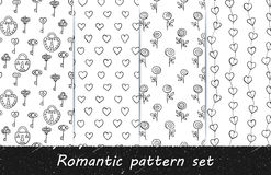 Romantic grunge line art pattern set. Vector hand drawn seamless patterns. Black and white backgrounds with lines, hearts, keys, locks and roses. Series of Stock Images