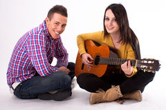Romantic guitar couple Stock Photo
