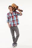 Romantic guy with guitar. stock photo