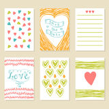 Romantic hand drawn card set. Collection of brochures, posters, Stock Images