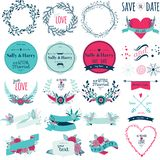 Romantic hand drawn collection of laurels, wreaths Stock Photo