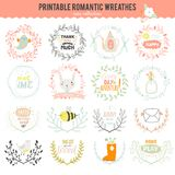 Romantic hand drawn collection of laurels, wreaths Stock Photography