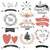 Romantic hand drawn collection of laurels, wreaths Stock Photos