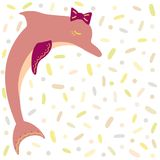 Romantic hand-drawn dolphin with a bow on the head. stock illustration