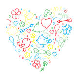 Romantic hand drawn doodle vector concept in love with birds and Stock Photography