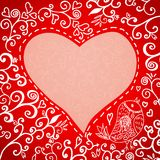 Romantic hand drawn floral Valentine's day card Royalty Free Stock Images
