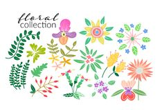 Wild flower meadow illustration.vector floral elements. Romantic hand drawn flowers and leaves collection Vector Illustration