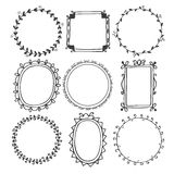 Romantic Hand Drawn Frames Stock Images
