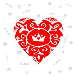 Romantic Hand drawn red heart with crown. Design elements for Va. Lentine`s day, wedding or World Heart Day Stock Photography