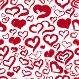 Romantic hand drawn red hearts cute seamless pattern for Valentine day on white background for banners, wrapping.  Royalty Free Stock Images