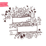 Romantic hand drawn vector illustration with ribbons, hearts, fl. Owers, arrows and wreaths vector illustration