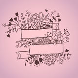 Romantic hand drawn vector illustration with ribbons, hearts. Flowers, arrows and wreaths royalty free illustration