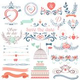 Romantic hand drawn vector wedding graphic set of cakes, arrows, flowers, laurel, wreaths. Wintage ribbons and labels. Romantic hand drawn vector wedding Royalty Free Stock Photography