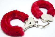Romantic handcuffs Stock Images