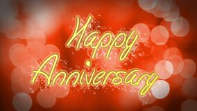Romantic Happy Anniversary congratulation message on red background, celebration. Stock footage stock video